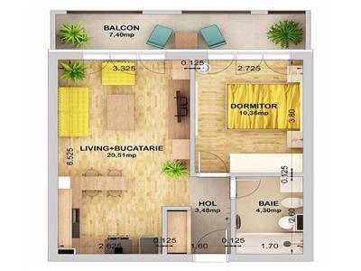 Apartament 2 camere TIP 1 de vanzare in Ansamblul City Residence